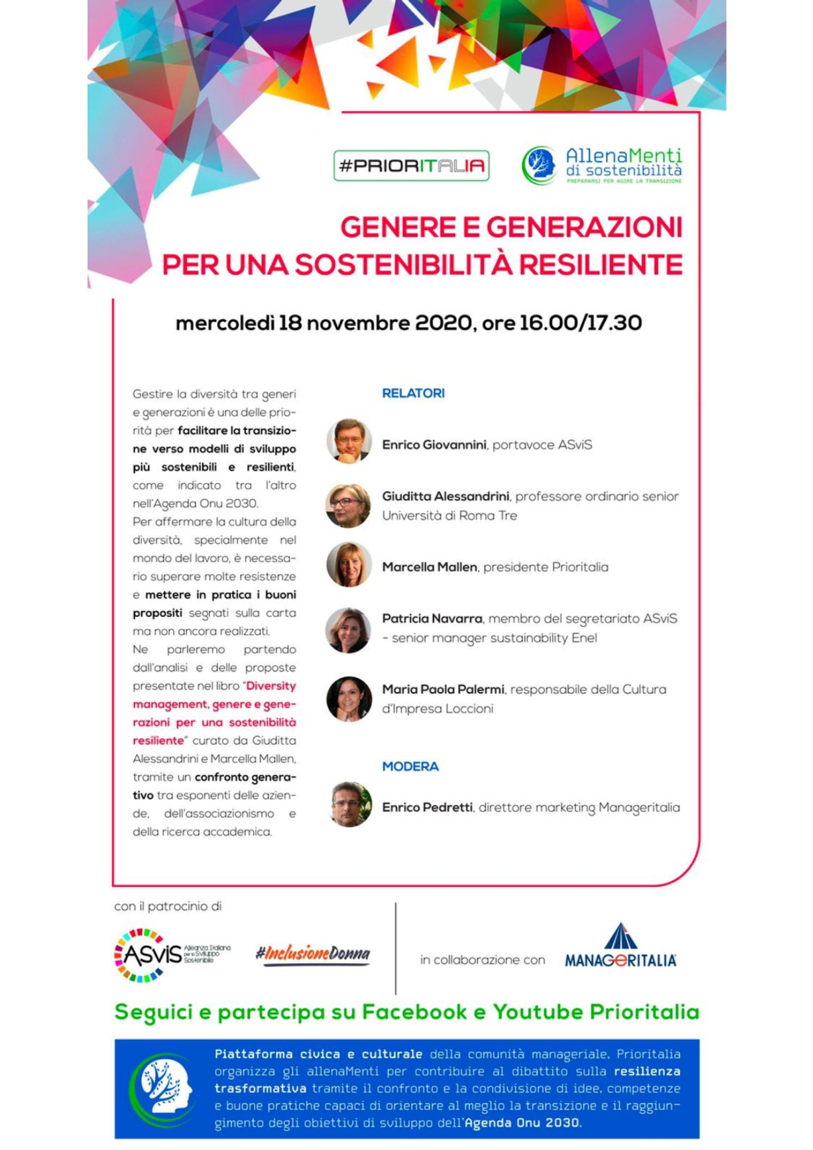 """Presentazione volume """"Diversity Management. Genere e generazioni per una sostenibilità resiliente"""" - 18 novembre - Locandina"""