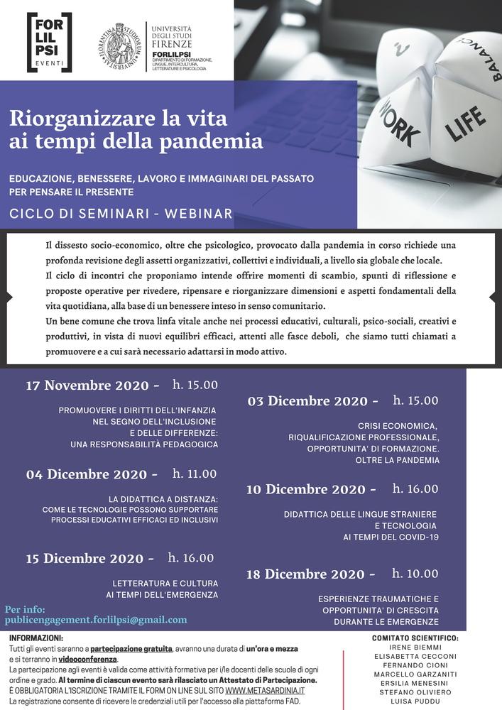 """Ciclo di webinar """"Riorganizzare la vita ai tempi della pandemia. Educazione, benessere, lavoro e immaginari del passato per pensare il presente"""" - 17 novembre - 18 dicembre - Locandina"""