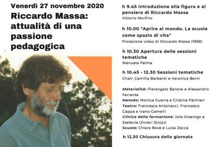"""Webinar """"Riccardo Massa. Attualità di una passione pedagogica"""" - 27 novembre - Brochure"""
