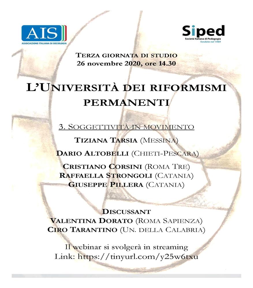 """Webinar """"Soggettività in movimento"""" all'interno del ciclo di webinar """"L'università dei riformismi permanenti"""" - 26 novembre - Locandina"""