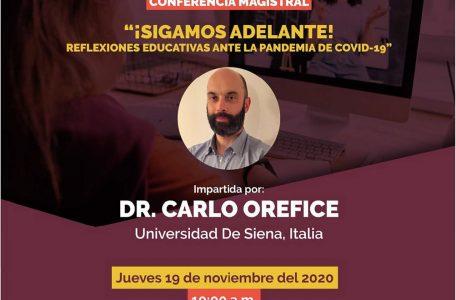 """Conferenza magistrale """"¡Sigamos adelante! Reflexiones educativas ante la pandemia de COVID-19"""" - 19 novembre - Locandina"""