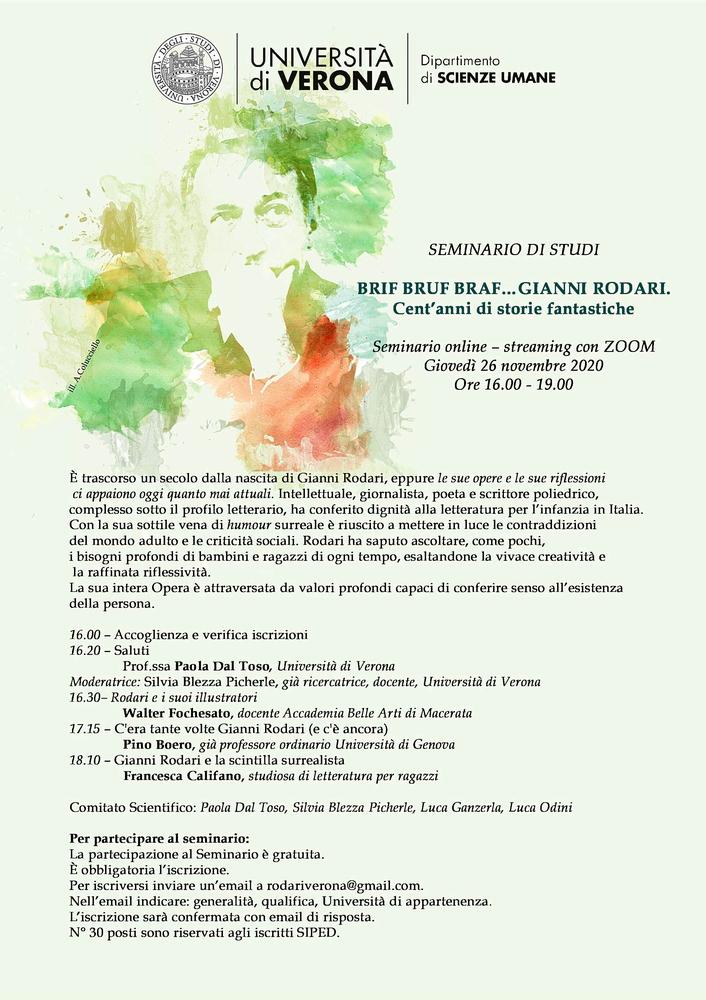 """Webinar """"Brif Bruf Braf... Gianni Rodari. Cent'anni di storie fantastiche"""" - 26 novembre - Locandina"""