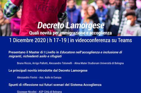 """Lezione aperta """"Decreto Lamorgese. Quali novità per immigrazione e accoglienza"""" - 1 dicembre - Locandina"""