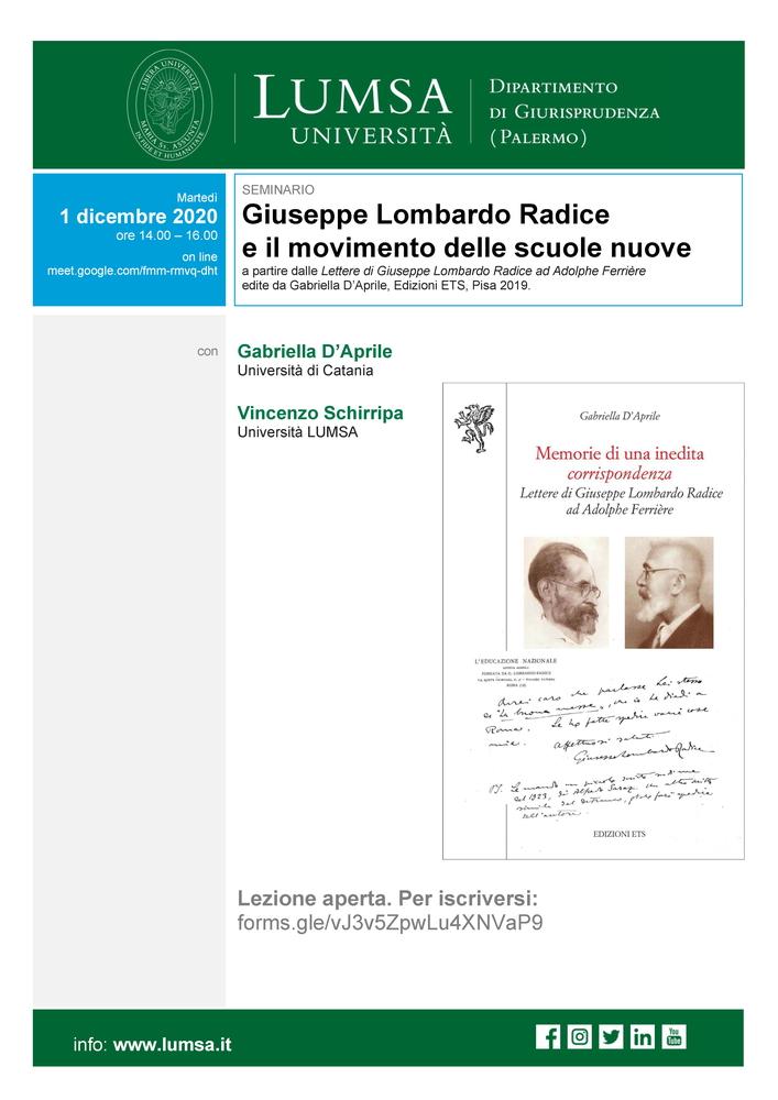 """Webinar """"Giuseppe Lombardo Radice e il movimento delle scuole nuove"""" – 1 dicembre"""
