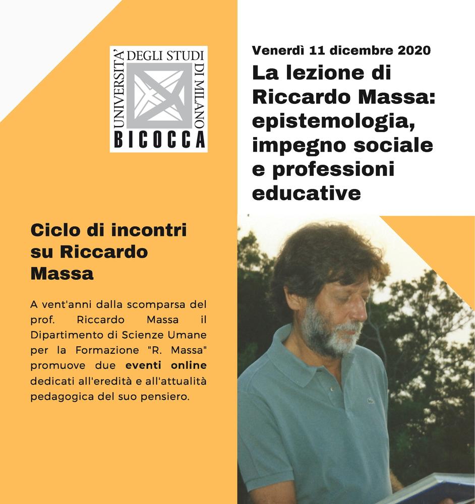 """Webinar """"La lezione di Riccardo Massa. Epistemologia, impegno sociale e professioni educative"""" – 11 dicembre"""