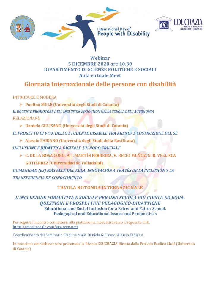 """Webinar """"L'inclusione formativa e sociale per una scuola più giusta ed equa. Questioni e prospettive pedagogico-didattiche"""" - 5 dicembre - Locandina"""