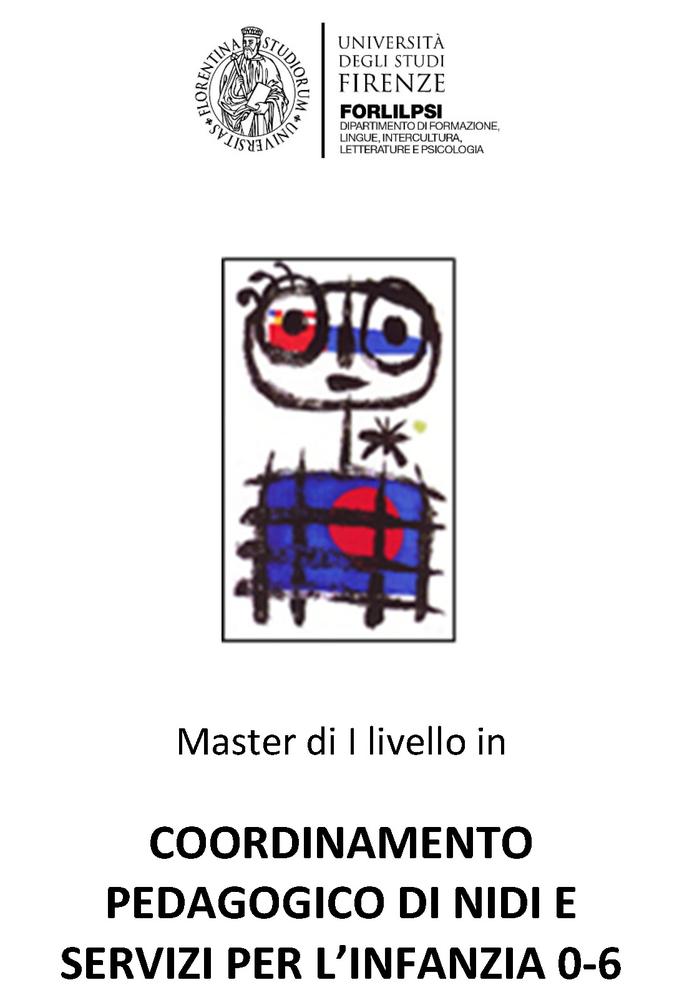 """Master di I livello in """"Coordinamento Pedagogico di Nidi e Servizi per l'Infanzia 0-6"""" - Locandina"""