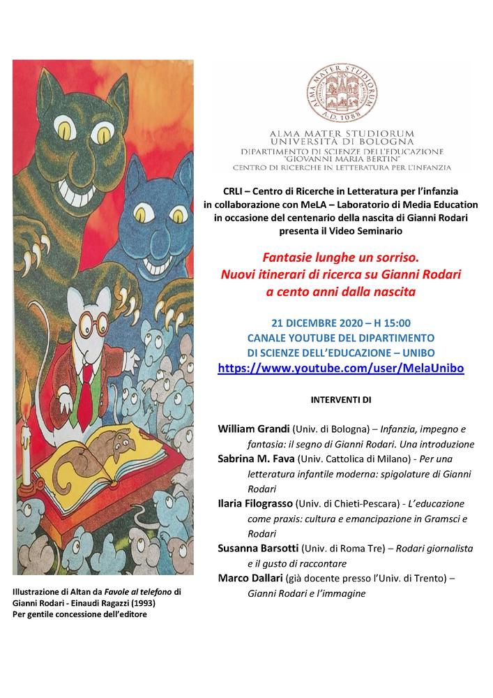 """Webinar """"Fantasie lunghe un sorriso. Nuovi itinerari di ricerca su Gianni Rodari a cento anni dalla nascita"""" - 21 dicembre - Locandina"""