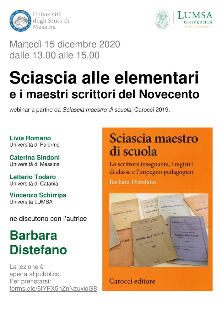 """Webinar """"Sciascia alle elementari e i maestri scrittori del Novecento"""" - 15 dicembre - Locandina"""