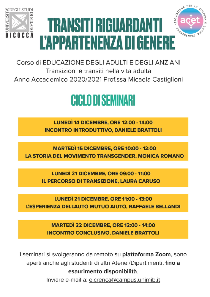 """Ciclo di webinar """"Transiti riguardanti l'appartenenza di genere"""" - 15 dicembre - Locandina"""