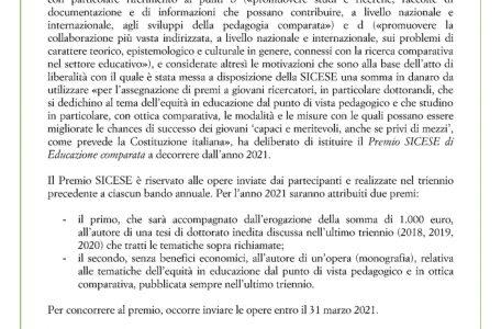 """Premio SICESE di """"Educazione comparata"""" - Bando"""