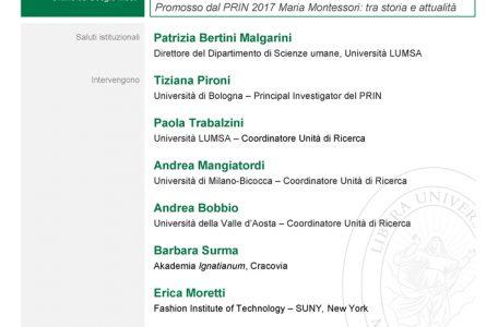 """Convegno """"150 anni dalla nascita di Montessori. Anteprima del Congresso Internazionale Montessori del 2021"""" - 16 dicembre - Locandina"""