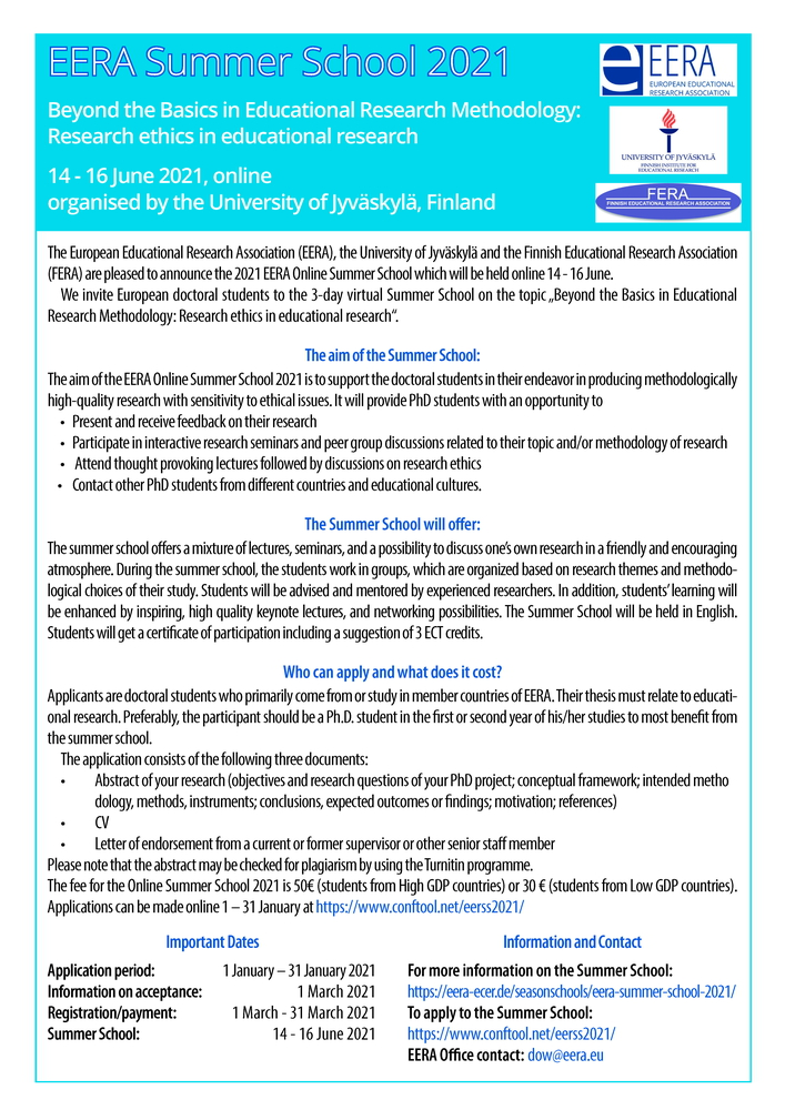 "Summer School EERA ""Beyond the Basics in Educational Research Methodology. Research ethics in educational research"" - 14-16 giugno 2021, Jyväskylä (Finlandia) - Locandina"