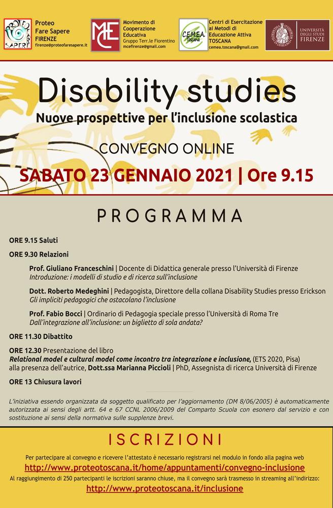 """Convegno """"Disability Studies. Nuove prospettive per l'inclusione scolastica"""" - 23 gennaio - Locandina"""