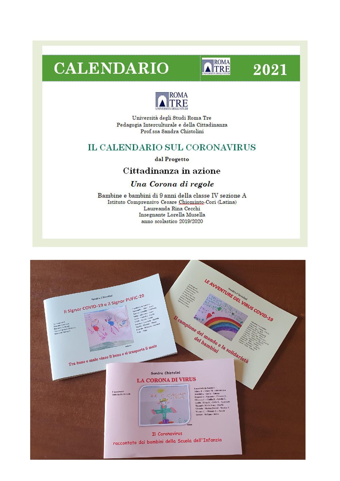 """Pubblicazione """"Scuola e Coronavirus nel 2020. I bambini creano la trilogia e il calendario 2021"""" - Copertina"""