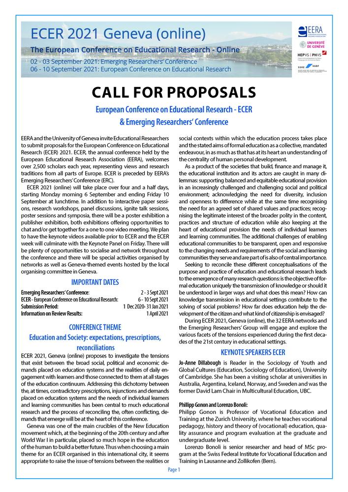 """Conferenza """"ECER 2021"""" - 6-10 settembre, Ginevra (Svizzera) - Call"""