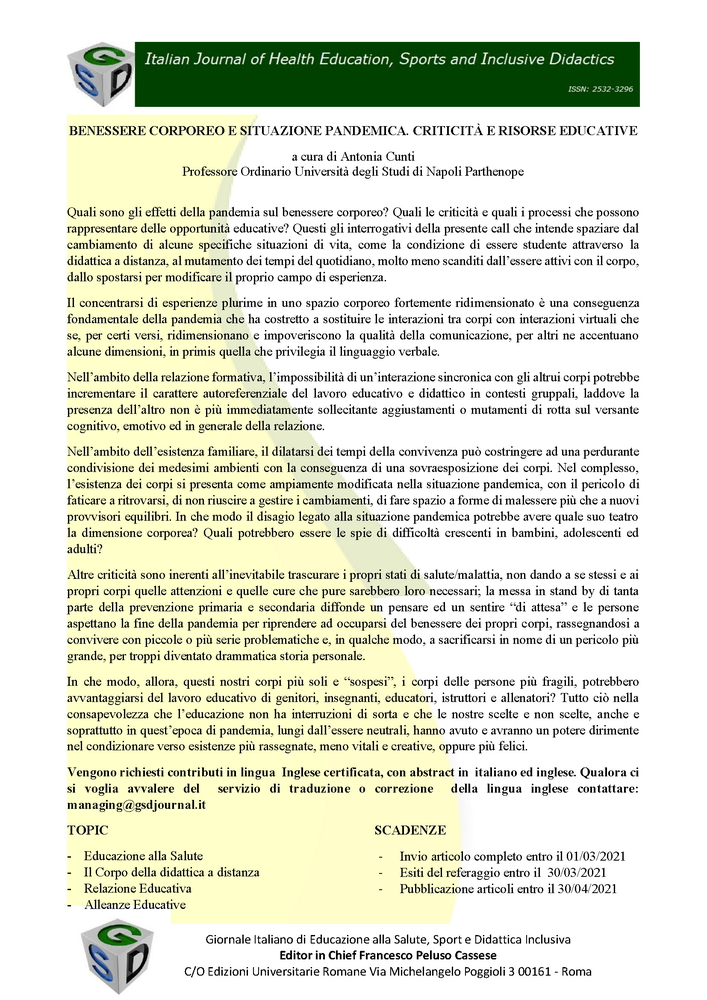 """Call for Papers per la rivista """"Italian Journal of Health Education, Sport and Inclusive Didactic"""" sul tema """"Benessere corporeo e situazione pandemica. Criticità e risorse educative"""" - Locandina"""