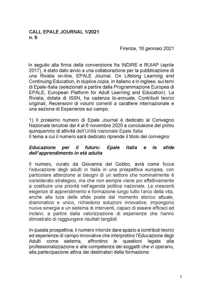 """Call for papers rivista """"EPALE. Journal on Adult Learning and Continuing Education"""" sul tema """"Educazione per il futuro: Epale Italia e le sfide dell'apprendimento in età adulta"""""""