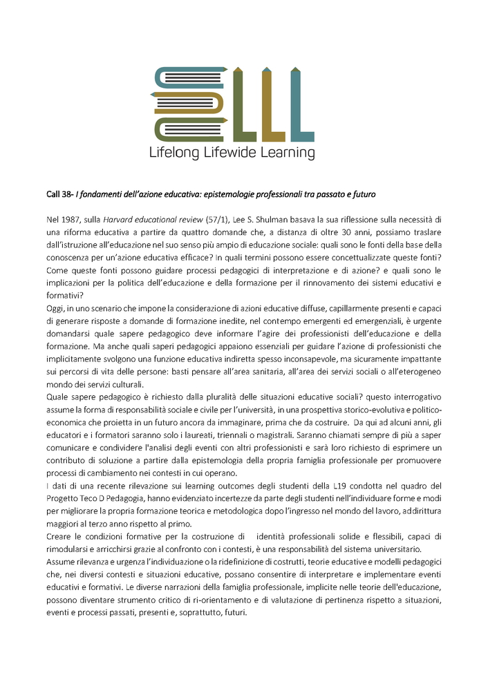 """Call for papers rivista """"Lifelong Lifewide Learning"""" sul tema """"I fondamenti dell'azione educativa. Epistemologie professionali tra passato e futuro"""""""