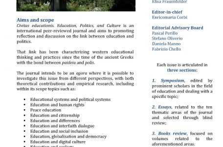 """Call for papers rivista """"Civitas Educationis. Education, Politics, and Culture"""" - Call"""