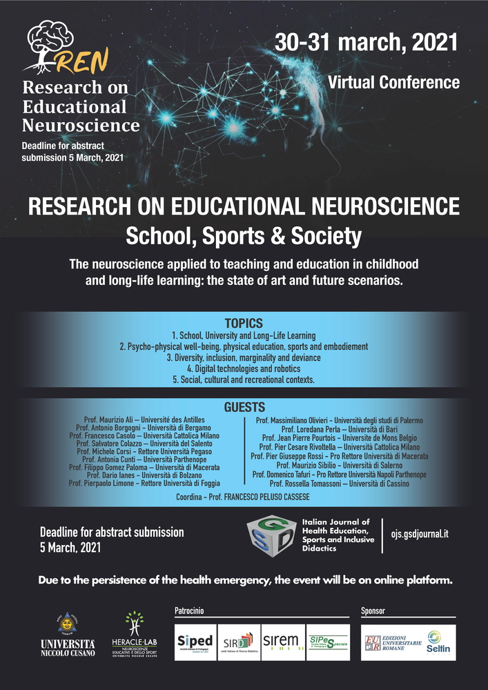 """Call for papers per il convegno """"REN 2021. Research on Educational Neuroscience International Conference"""" - Locandina"""