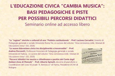 """Webinar """"L'educazione civica cambia musica. Basi pedagogiche e piste per possibili percorsi didattici"""" - 25 febbraio - Locandina"""