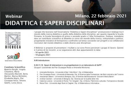 """Ciclo di webinar """"Didattica e saperi disciplinari"""" - 22 febbraio, 16 aprile, 18 giugno - Locandina"""