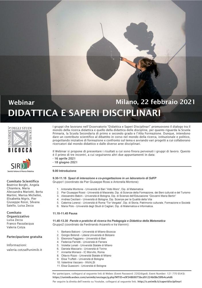 """Ciclo di webinar """"Didattica e saperi disciplinari"""" – 22 febbraio, 16 aprile, 18 giugno"""