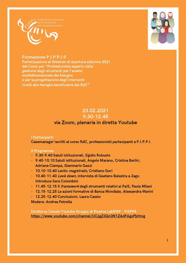"""Webinar """"La progettazione degli interventi rivolti alle famiglie beneficiarie del reddito di cittadinanza"""" - 23 febbraio - Locandina"""