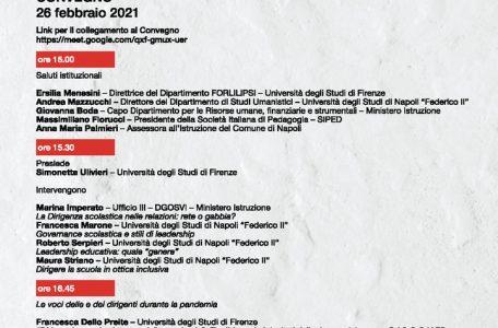 """Convegno """"Dirigere le scuole al tempo della pandemia"""" - 26 febbraio - Locandina"""
