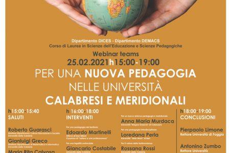 """Webinar """"Per una nuova pedagogia nelle università calabresi e meridionali"""" - 25 febbraio - Locandina"""