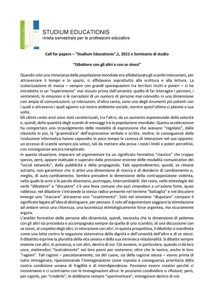 """Call for Papers rivista """"Studium Educationis"""" sul tema """"Dibattere con gli altri e con se stessi"""" - Call"""