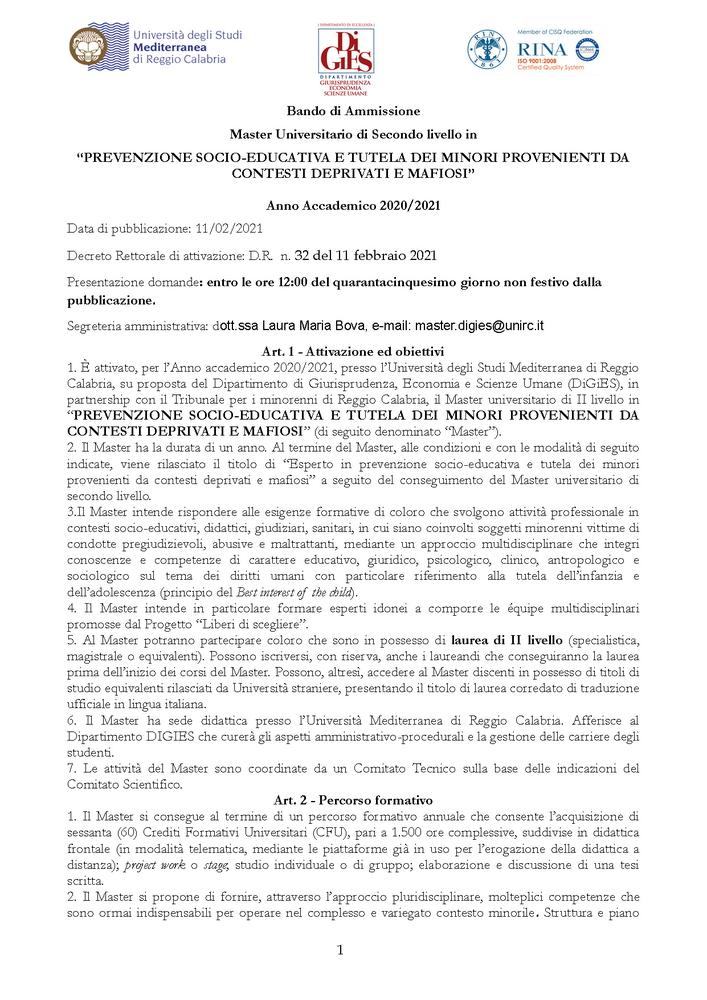 """Master universitario di II livello in """"Prevenzione socio-educativa e tutela dei minori provenienti da contesti deprivati e mafiosi"""" - Brochure"""