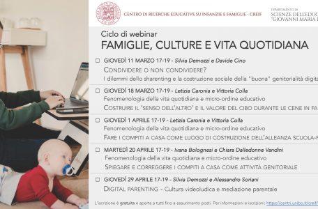 """Ciclo di webinar """"Famiglie, culture e vita quotidiana"""" - marzo-aprile - Locandina"""