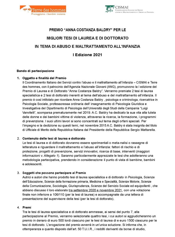 """I edizione del Premio di Laurea e di Dottorato """"Anna Costanza Baldry"""" - Immagine"""