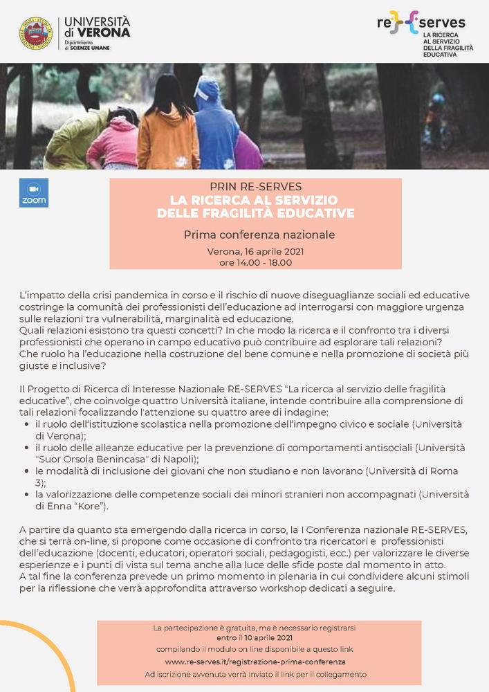 """Conferenza """"La ricerca al servizio delle fragilità educative. I conferenza PRIN RESERVES"""" - 16 aprile - Locandina"""