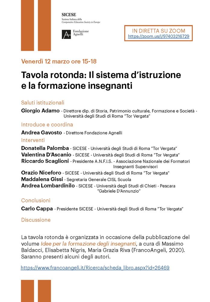 """Tavola rotonda """"Il sistema d'istruzione e la formazione insegnanti"""" - 12 marzo - Locandina"""