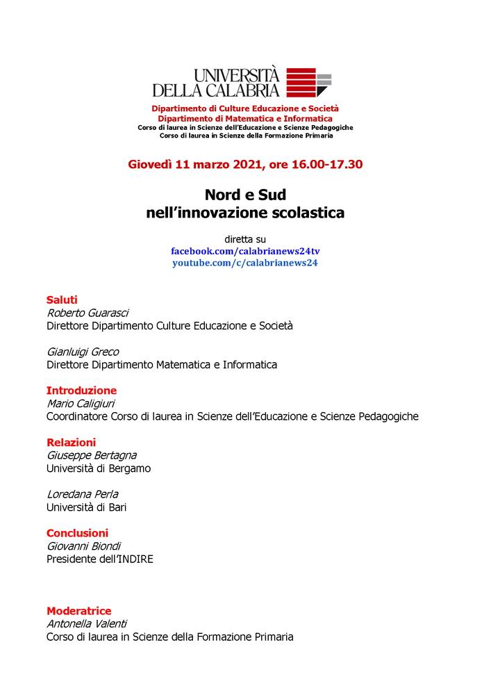"""Conferenza """"Nord e Sud nell'innovazione scolastica"""" - 11 marzo"""