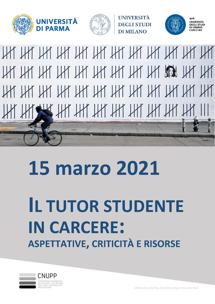 """Workshop di formazione """"Il tutor studente in carcere. Aspettative, criticità e risorse"""" - 15 marzo - Locandina"""