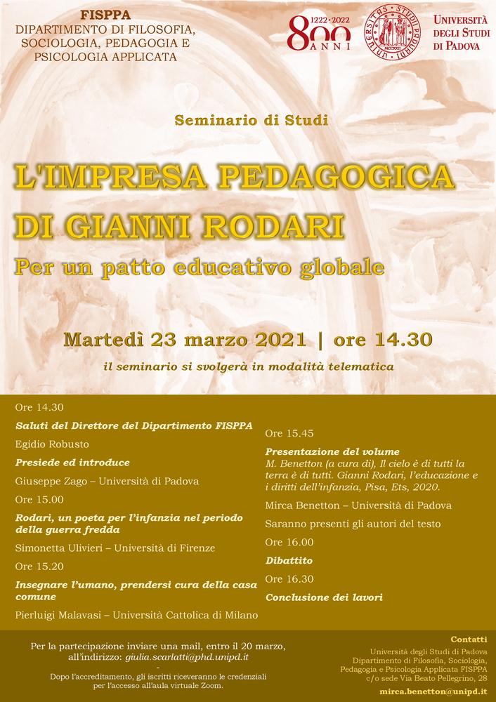"""Webinar """"L'impresa pedagogica di Gianni Rodari. Per un patto educativo globale"""" - 23 marzo - Locandina"""