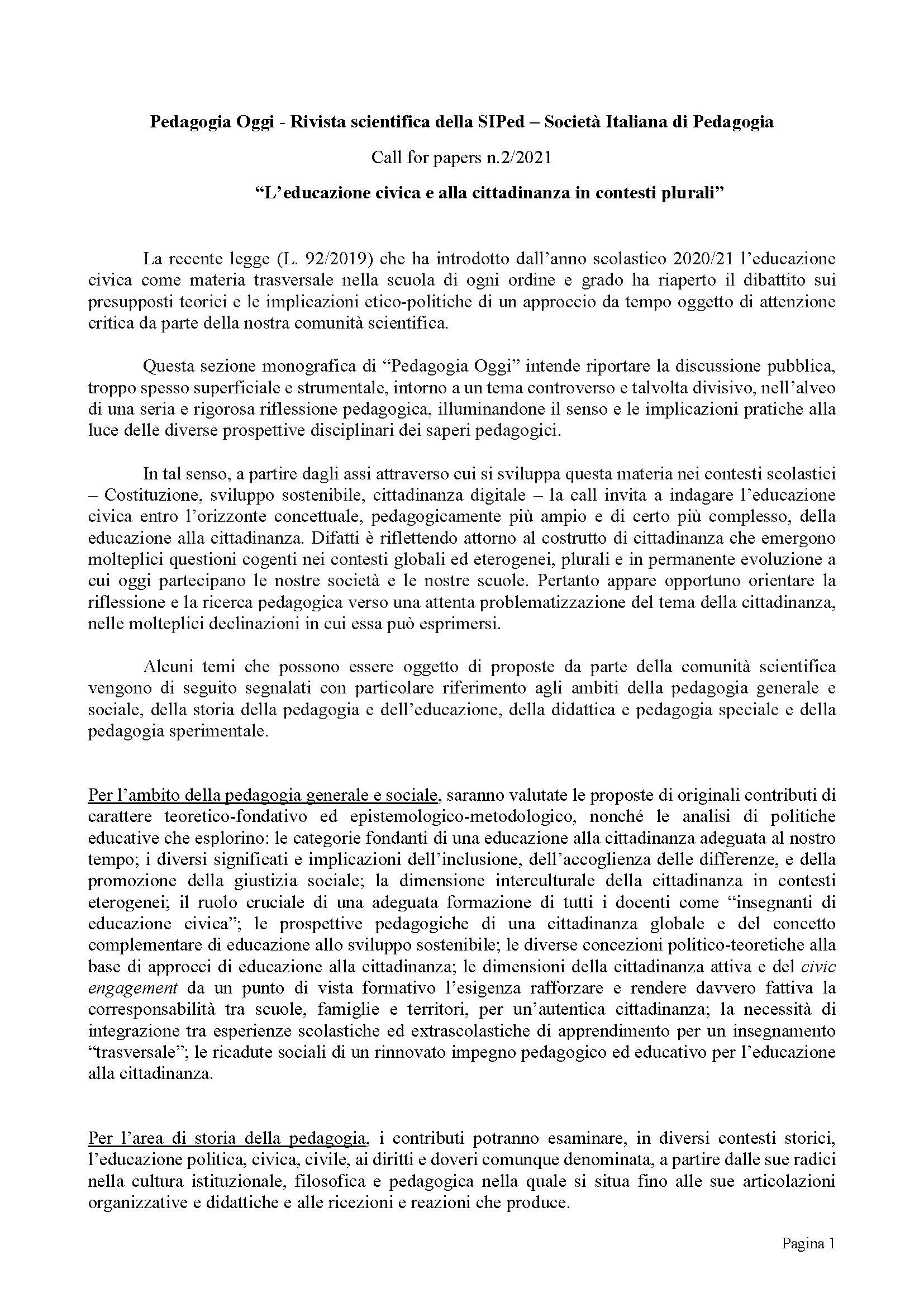 Pedagogia Oggi - CFP - 02-2021 - Educazione civica e cittadinanza - Pagina 1