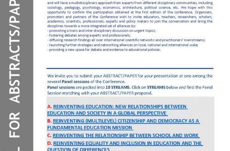 """Conferenza internazionale """"Reinventing education"""" - 3-5 giugno - call"""
