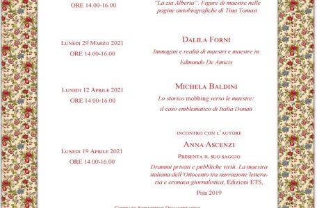 """Ciclo di webinar """"Maestri e Maestre nella storia dell'Italia. Momenti e temi di educazione sociale"""" - 22 e 29 marzo e 12 e 19 aprile - Locandina"""