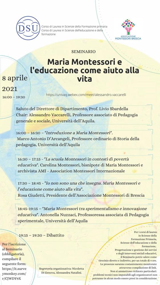"""Webinar """"Maria Montessori e l'educazione come aiuto alla vita"""" - 8 aprile - Locandina"""