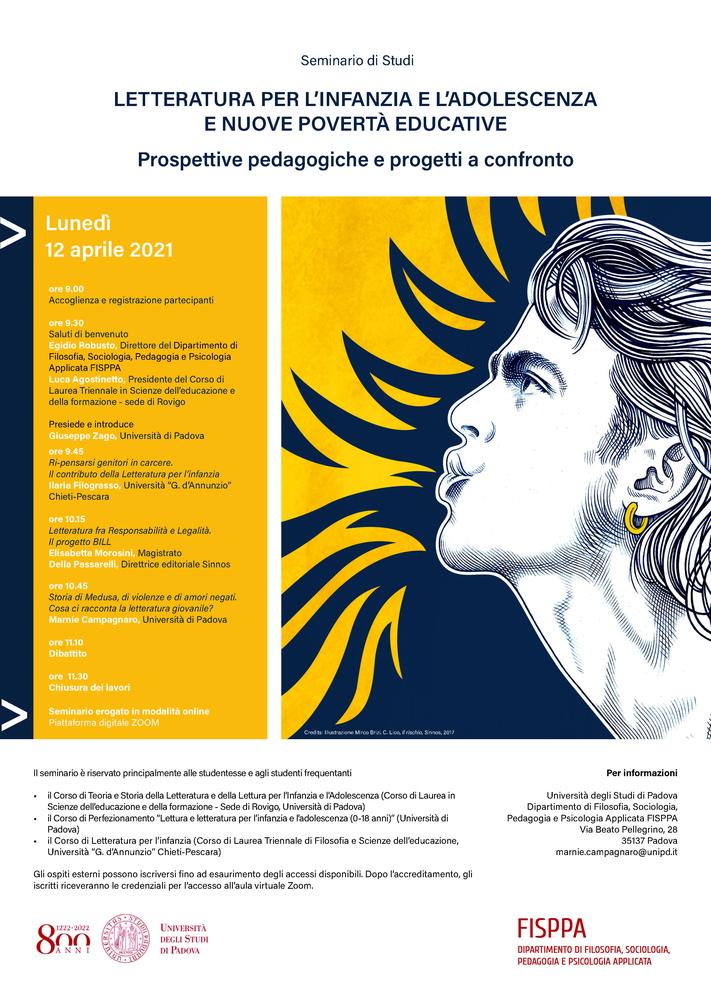 """Webinar """"Letteratura per l'infanzia e l'adolescenza e nuove povertà educative. Prospettive pedagogiche e progetti a confronto"""" - 12 aprile - Locandina"""