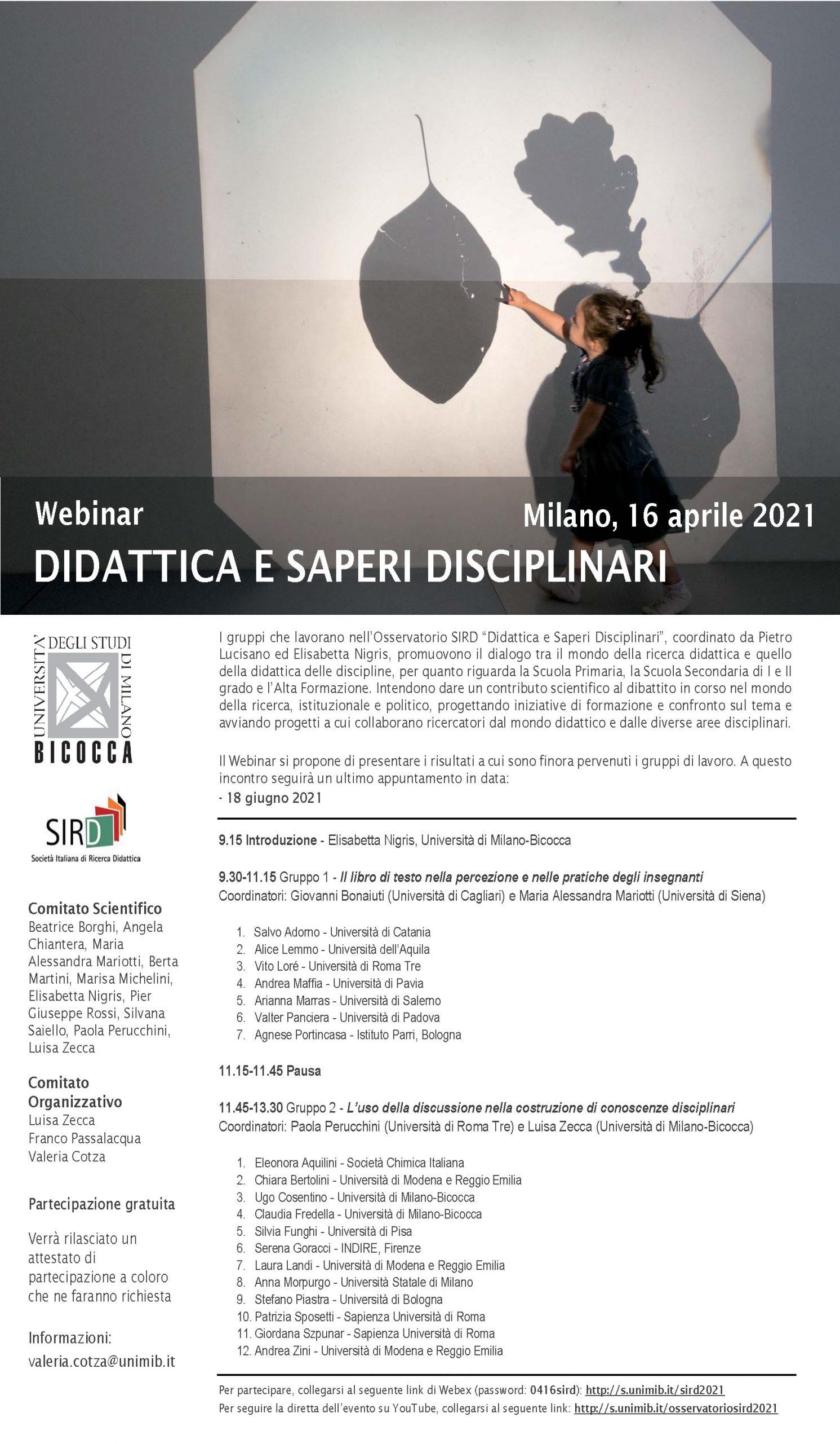"""Ciclo di webinar """"Didattica e saperi disciplinari"""" - 16 aprile e 18 giugno - Locandina"""