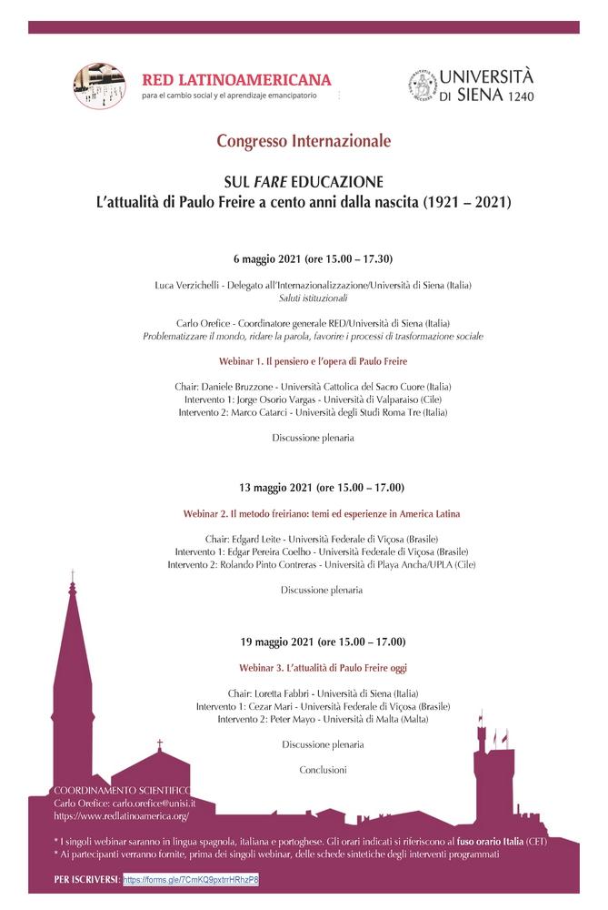 """Congresso Internazionale """"Sul fare educazione. L'attualità di Paolo Freire a cento anni dalla nascita (1921-2021)"""" – 6, 13 e 19 maggio"""