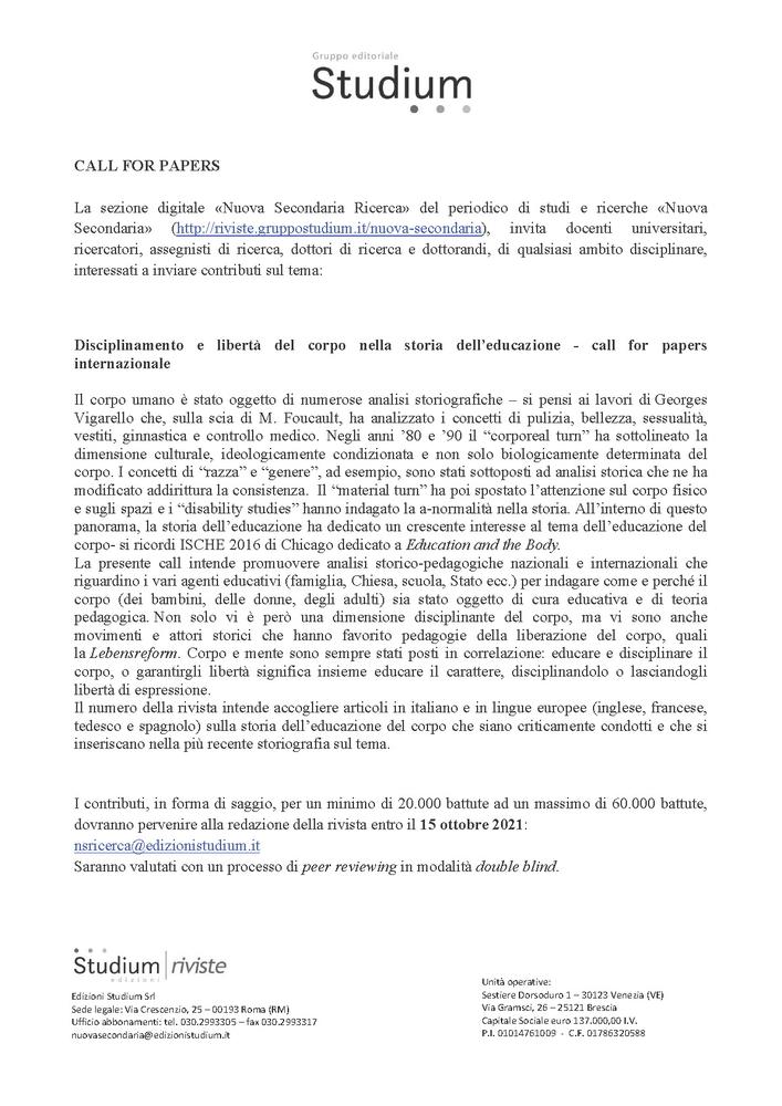 """Call for papers internazionale rivista """"Nuova Secondaria Ricerca"""" sul tema """"Disciplinamento e libertà del corpo nella storia dell'educazione"""" - Call"""