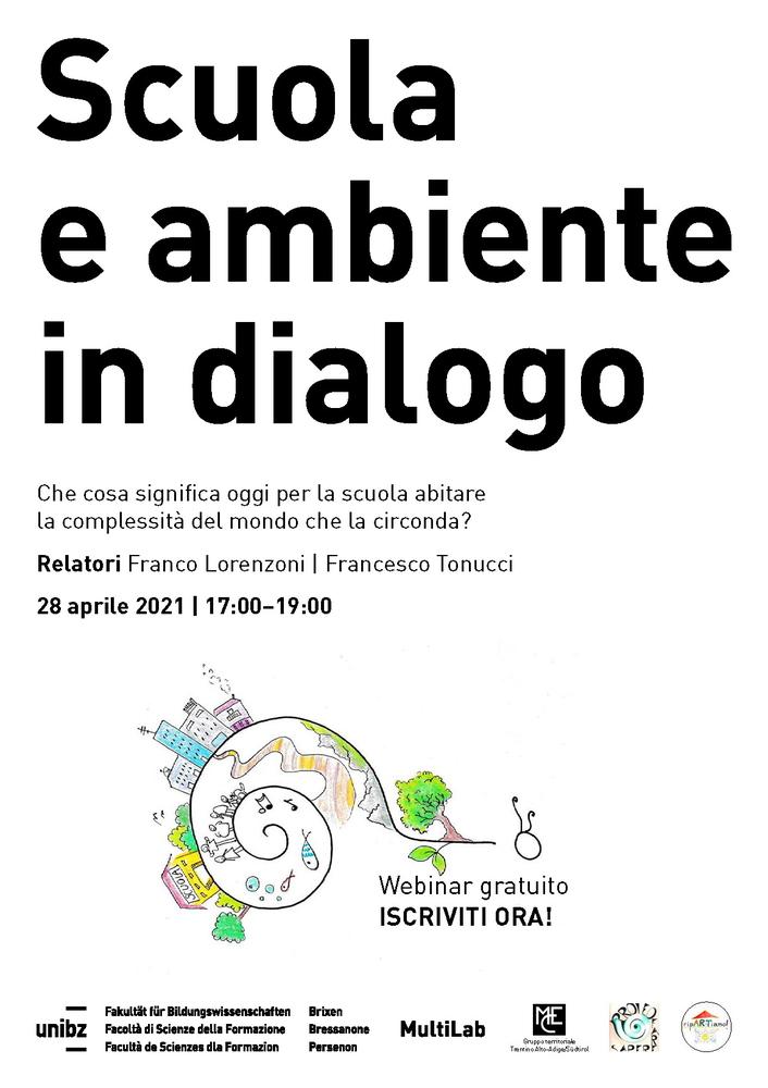 """Webinar """"Scuola e ambiente in dialogo. Che cosa significa per la scuola oggi abitare la complessità del mondo che la circonda?"""" - 28 aprile - Locandina"""