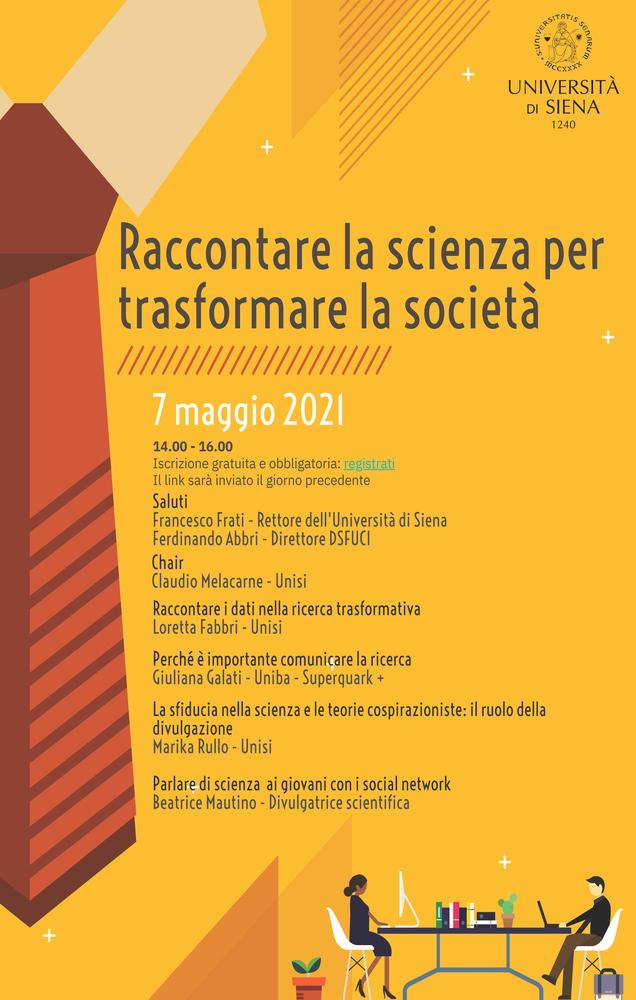 """Webinar """"Raccontare la scienza per trasformare la società"""" - 7 maggio - Locandina"""